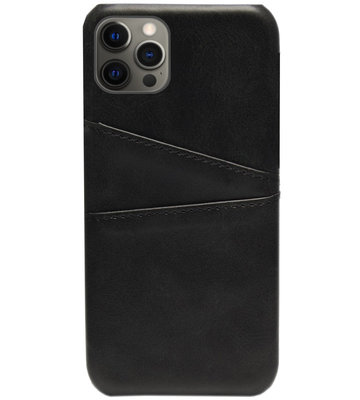 ADEL Kunstleren Back Cover Pasjes Hoesje voor iPhone 12 (Pro) - Zwart