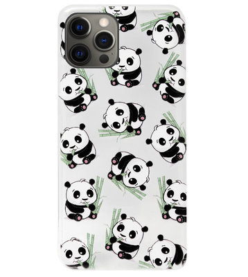 ADEL Siliconen Back Cover Softcase Hoesje voor iPhone 12 (Pro) - Panda Liggend