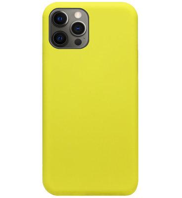 ADEL Premium Siliconen Back Cover Softcase Hoesje voor iPhone 12 (Pro) - Geel