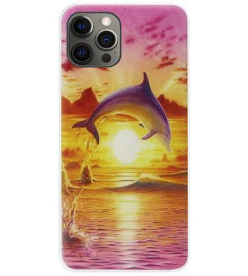 ADEL Kunststof Back Cover Hardcase Hoesje voor iPhone 12 (Pro) - Dolfijn