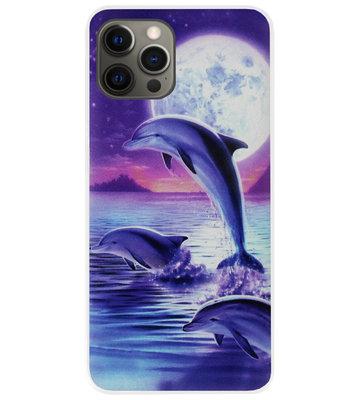 ADEL Kunststof Back Cover Hardcase Hoesje voor iPhone 12 (Pro) - Dolfijn Blauw