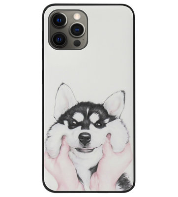 ADEL Siliconen Back Cover Softcase Hoesje voor iPhone 12 (Pro) - Husky Hond