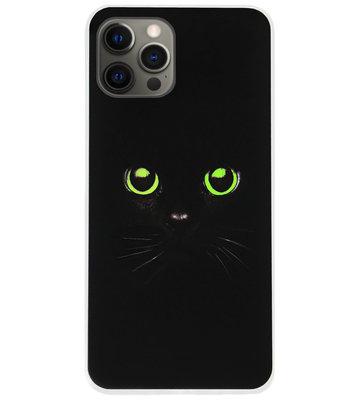 ADEL Siliconen Back Cover Softcase Hoesje voor iPhone 12 (Pro) - Katten Zwart Groene Ogen