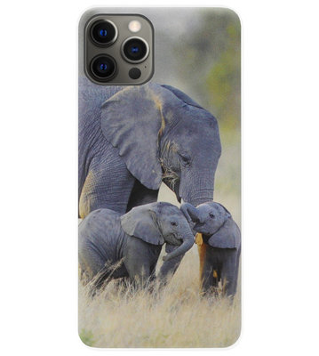 ADEL Siliconen Back Cover Softcase Hoesje voor iPhone 12 (Pro) - Olifant Familie