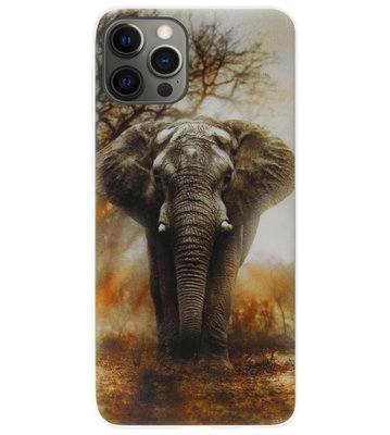 ADEL Siliconen Back Cover Softcase Hoesje voor iPhone 12 (Pro) - Olifanten