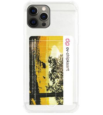 ADEL Siliconen Back Cover Softcase Hoesje voor iPhone 12 (Pro) - Pasjeshouder Doorzichtig