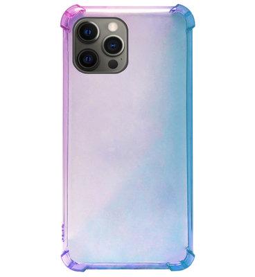 ADEL Siliconen Back Cover Softcase Hoesje voor iPhone 12 (Pro) - Kleurovergang Blauw Paars