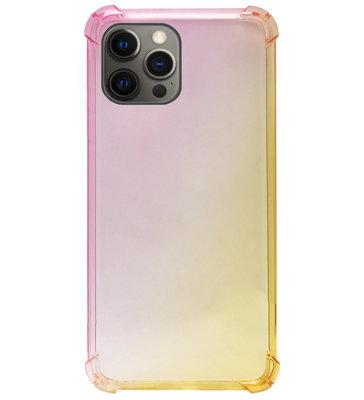 ADEL Siliconen Back Cover Softcase Hoesje voor iPhone 12 (Pro) - Kleurovergang Roze Geel