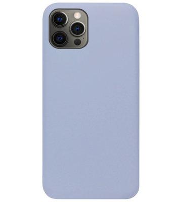 ADEL Premium Siliconen Back Cover Softcase Hoesje voor iPhone 12 (Pro) - Lavendel Grijs