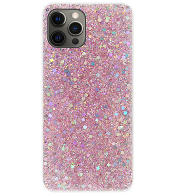 ADEL Premium Siliconen Back Cover Softcase Hoesje voor iPhone 12 (Pro) - Bling Bling Roze