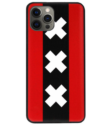 ADEL Siliconen Back Cover Softcase Hoesje voor iPhone 12 (Pro) - Amsterdam Andreaskruisen