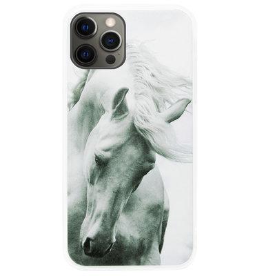 ADEL Siliconen Back Cover Softcase Hoesje voor iPhone 12 (Pro) - Paarden