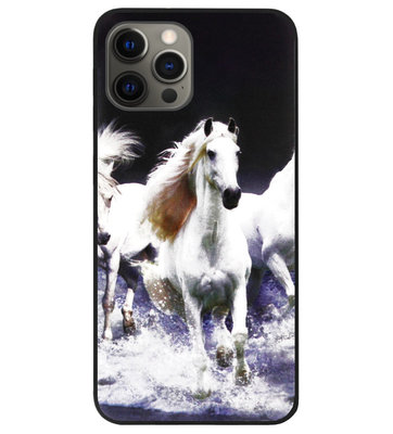 ADEL Siliconen Back Cover Softcase Hoesje voor iPhone 12 (Pro) - Paarden Wit