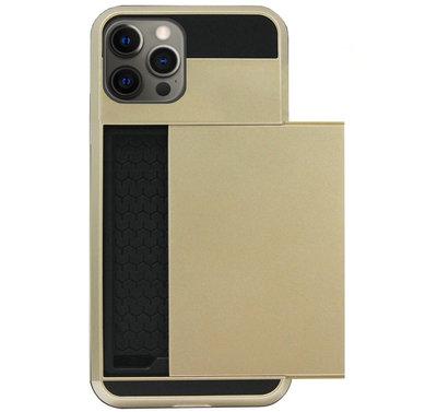 ADEL Kunststof Back Cover Hardcase Hoesje voor iPhone 12 Pro Max - Pasjeshouder Goud