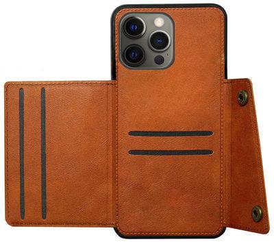 ADEL Kunstleren Back Cover Pasjeshouder Hoesje voor iPhone 12 Pro Max - Bruin
