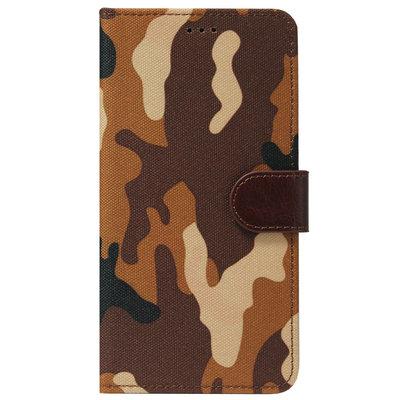 ADEL Kunstleren Book Case Pasjes Portemonnee Hoesje voor iPhone 12 Pro Max - Camouflage Bruin