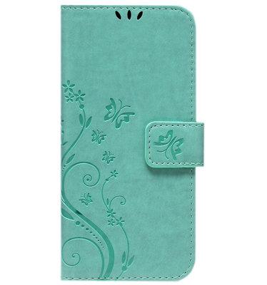 ADEL Kunstleren Book Case Pasjes Portemonnee Hoesje voor iPhone 12 Pro Max - Vlinder Groen