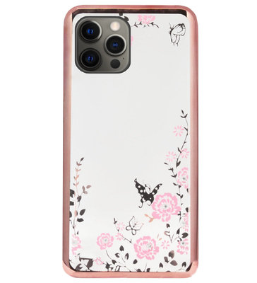 ADEL Siliconen Back Cover Softcase Hoesje voor iPhone 12 Pro Max - Glimmend Glitter Vlinder Bloemen Roze