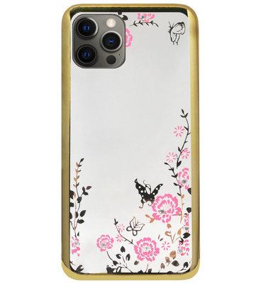 ADEL Siliconen Back Cover Softcase Hoesje voor iPhone 12 Pro Max - Glimmend Glitter Vlinder Bloemen Goud