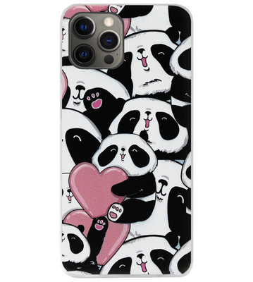 ADEL Siliconen Back Cover Softcase Hoesje voor iPhone 12 Pro Max - Panda Hartjes