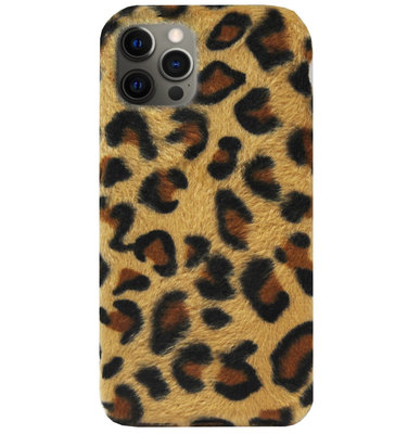 ADEL Siliconen Back Cover Softcase Hoesje voor iPhone 12 Pro Max - Luipaard Fluffy Bruin
