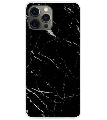 ADEL Siliconen Back Cover Softcase Hoesje voor iPhone 12 Pro Max - Marmer Zwart