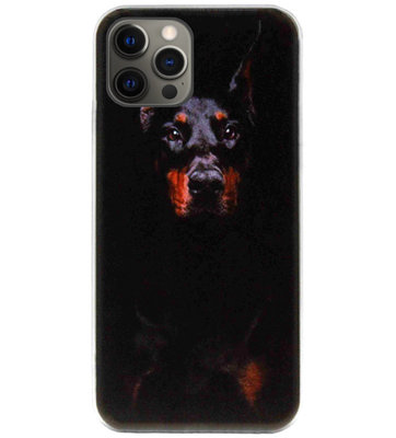ADEL Siliconen Back Cover Softcase Hoesje voor iPhone 12 Pro Max - Dobermann Pinscher Hond