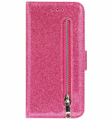 ADEL Kunstleren Book Case Pasjes Portemonnee Hoesje voor iPhone 12 Pro Max - Bling Bling Glitter Roze