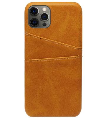 ADEL Kunstleren Back Cover Pasjes Hoesje voor iPhone 12 Pro Max - Bruin