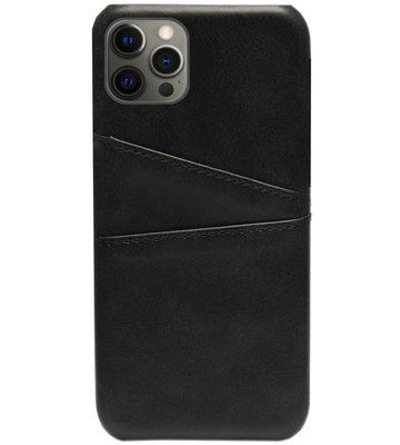 ADEL Kunstleren Back Cover Pasjes Hoesje voor iPhone 12 Pro Max - Zwart