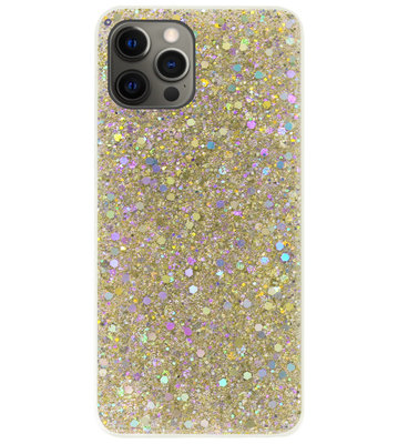 ADEL Premium Siliconen Back Cover Softcase Hoesje voor iPhone 12 Pro Max - Bling Bling Glitter Goud