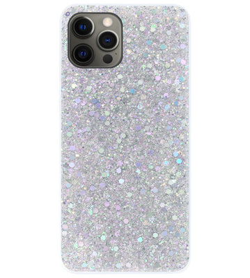 ADEL Premium Siliconen Back Cover Softcase Hoesje voor iPhone 12 Pro Max - Bling Bling Glitter Zilver
