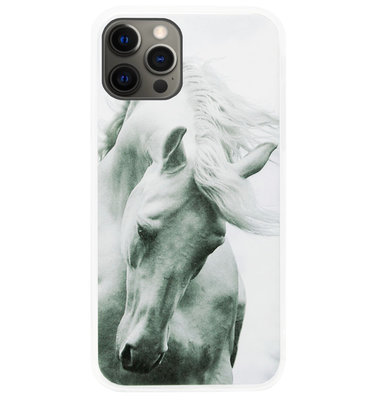 ADEL Siliconen Back Cover Softcase Hoesje voor iPhone 12 Pro Max - Paarden Wit