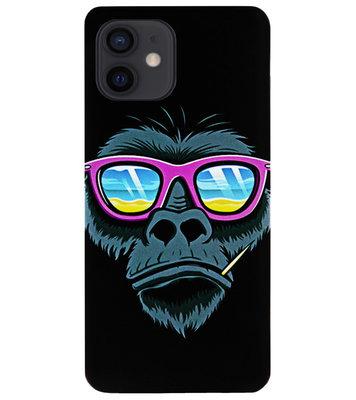 ADEL Siliconen Back Cover Softcase Hoesje voor iPhone 12 Mini - Gorilla Apen