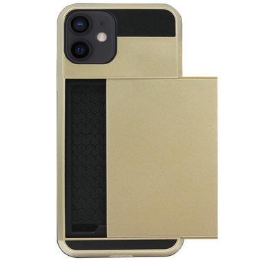 ADEL Kunststof Back Cover Hardcase Hoesje voor iPhone 12 Mini - Pasjeshouder Goud