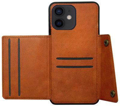 ADEL Kunstleren Back Cover Pasjeshouder Hoesje voor iPhone 12 Mini - Bruin