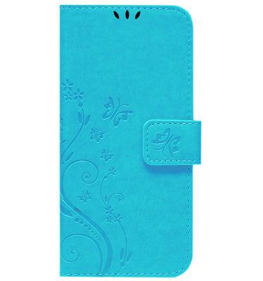 ADEL Kunstleren Book Case Pasjes Portemonnee Hoesje voor iPhone 12 Mini - Vlinder Blauw