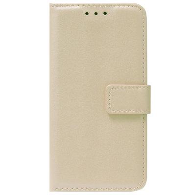 ADEL Kunstleren Book Case Pasjes Portemonnee Hoesje voor iPhone 12 Mini - Goud