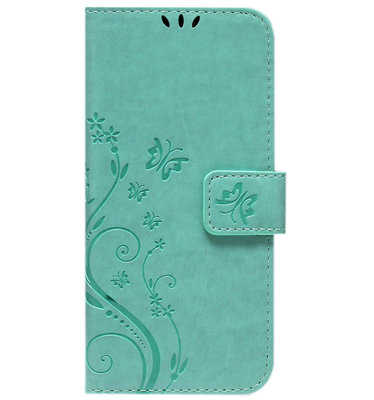 ADEL Kunstleren Book Case Pasjes Portemonnee Hoesje voor iPhone 12 Mini - Vlinder Groen