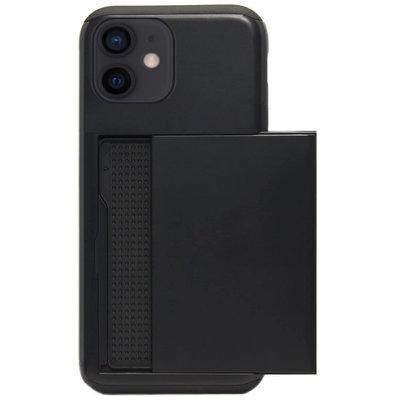 ADEL Kunststof Back Cover Hardcase Hoesje voor iPhone 12 Mini - Pasjeshouder Zwart