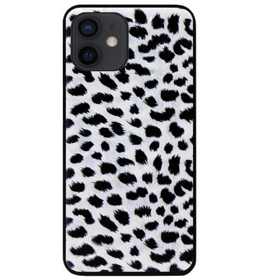 ADEL Siliconen Back Cover Softcase Hoesje voor iPhone 12 Mini - Luipaard Wit