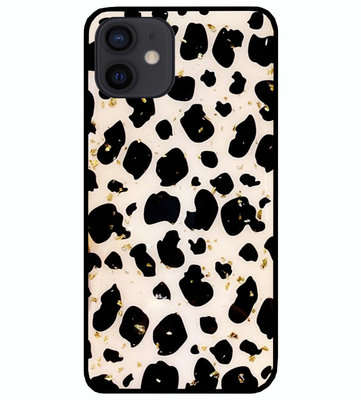 ADEL Siliconen Back Cover Softcase Hoesje voor iPhone 12 Mini - Luipaard Bling Glitter