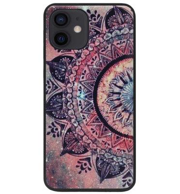 ADEL Siliconen Back Cover Softcase Hoesje voor iPhone 12 Mini - Mandala Bloemen Rood