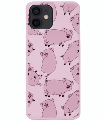 ADEL Siliconen Back Cover Softcase Hoesje voor iPhone 12 Mini - Biggetje