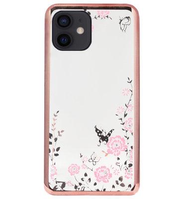 ADEL Siliconen Back Cover Softcase Hoesje voor iPhone 12 Mini - Glimmend Glitter Vlinder Bloemen Roze