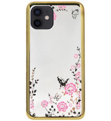 ADEL Siliconen Back Cover Softcase Hoesje voor iPhone 12 Mini - Glimmend Glitter Vlinder Bloemen Goud