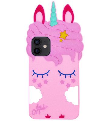 ADEL Siliconen Back Cover Softcase Hoesje voor iPhone 12 Mini - Eenhoorn Roze