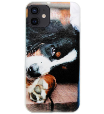 ADEL Siliconen Back Cover Softcase Hoesje voor iPhone 12 Mini - Berner Sennenhond