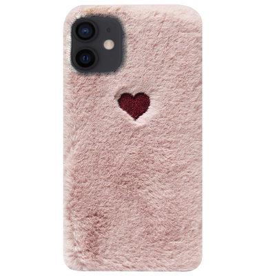 ADEL Siliconen Back Cover Softcase Hoesje voor iPhone 12 Mini - Hartjes Roze