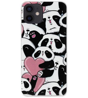 ADEL Siliconen Back Cover Softcase Hoesje voor iPhone 12 Mini - Panda Hartjes